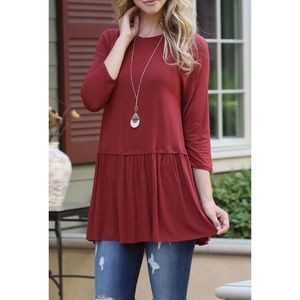 Pleated Ruffle Bottom Burgundy Red Top Plus Size